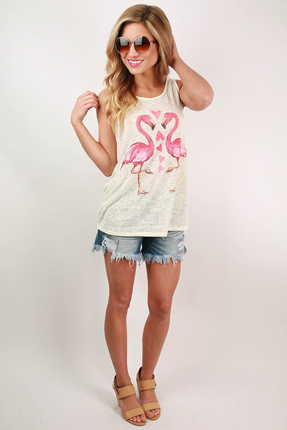 Flamingo Heart Tank Top in Ivory