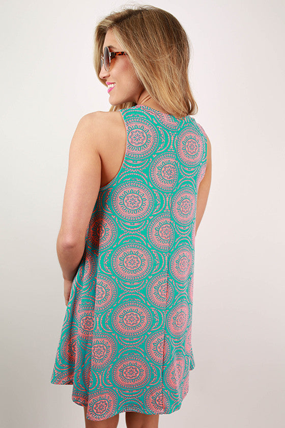 Chateau Sipping Flare Tunic Dress in Turquoise