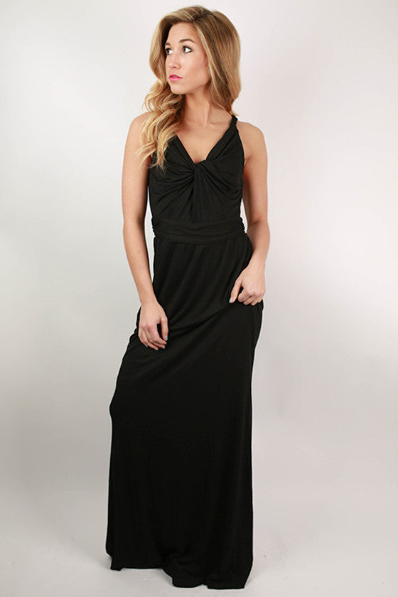 Ready to Sail Maxi Dress in Black