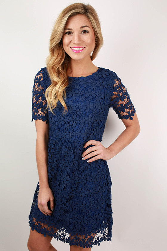 Vip Vacay Crochet Dress in Royal Blue