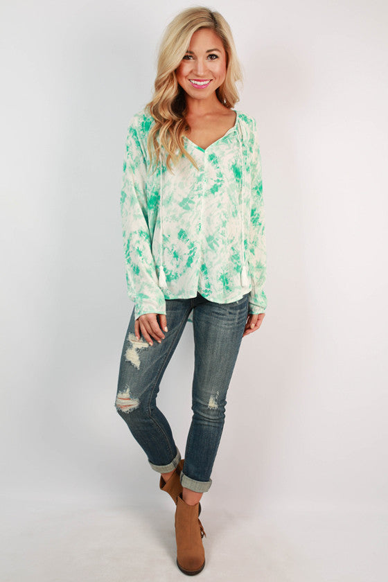 Love & Laughter Tassel Tie Top in Turquoise