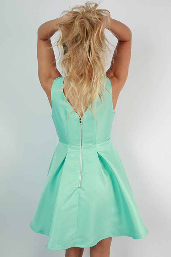 Resort Bound V-Neck Dress in Aqua