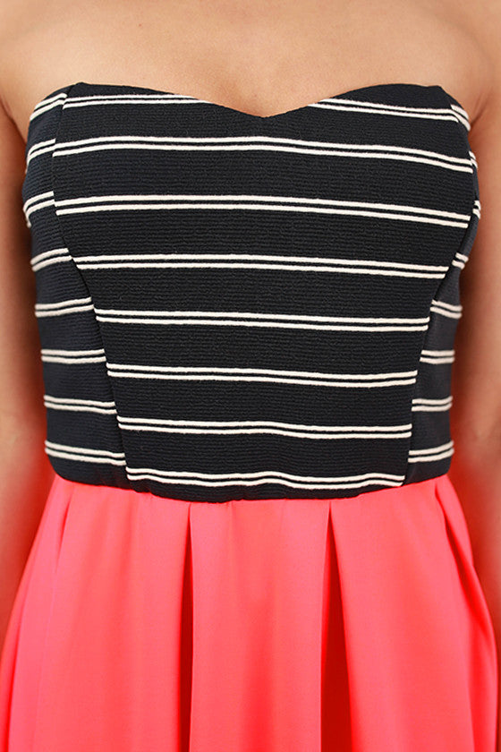 Stripe Festivities Dress in Neon Coral