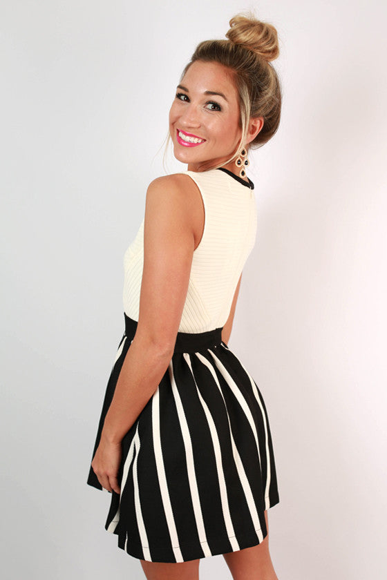 Rock The Stripes Dress in Black