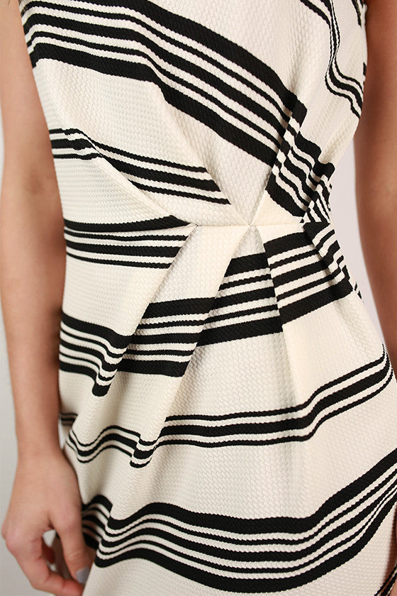 Dinner in Paris Stripe Dress in Ivory