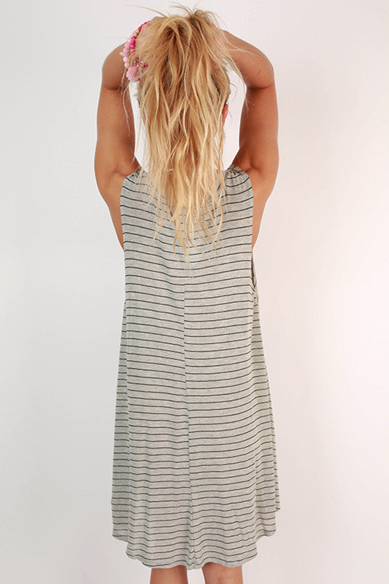 Meet Me By The Pier Stripe Dress in Grey