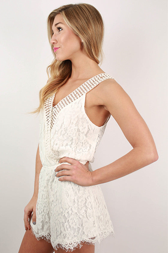 Going To The Races Lace Romper in White