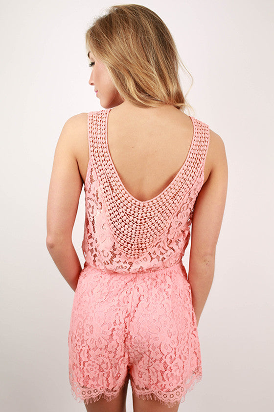 Going To The Races Lace Romper in Peach