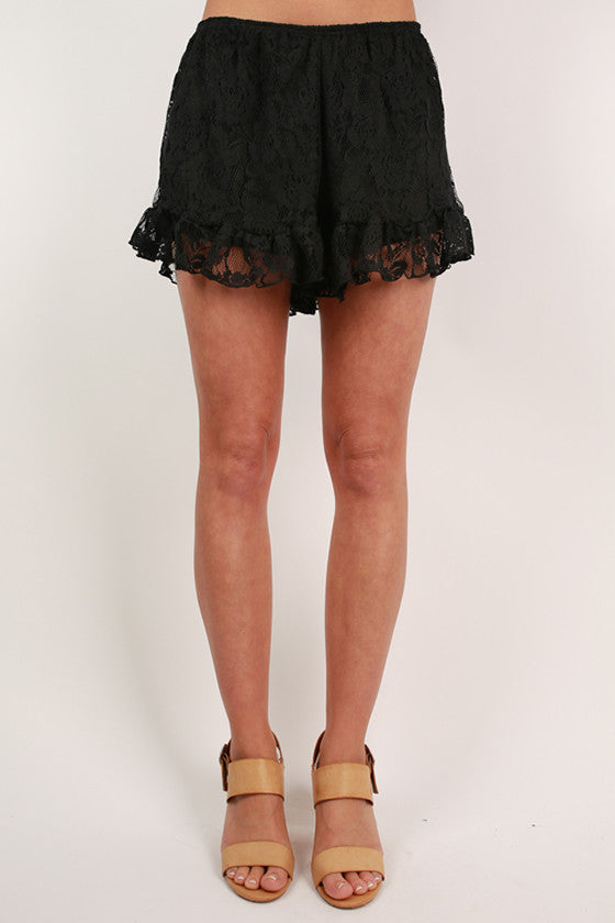 Shake It Off Lace Shorts in Black