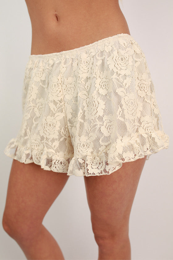 Shake It Off Lace Shorts in Beige