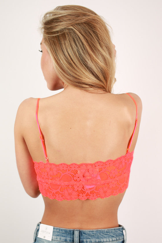 Lovely In Lace Bralette in Neon Coral