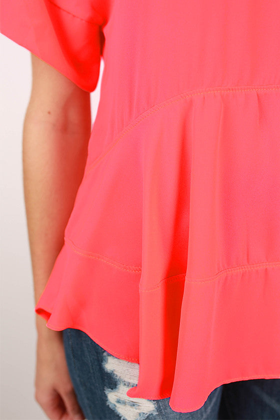 Summer In Italy Top in Neon Coral