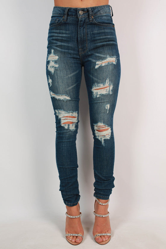 Washed Distressed Skinny in Medium Blue