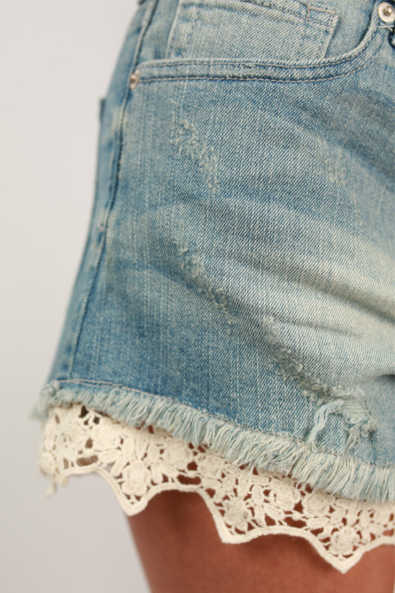 Lace Highrise Shorts in Light Blue