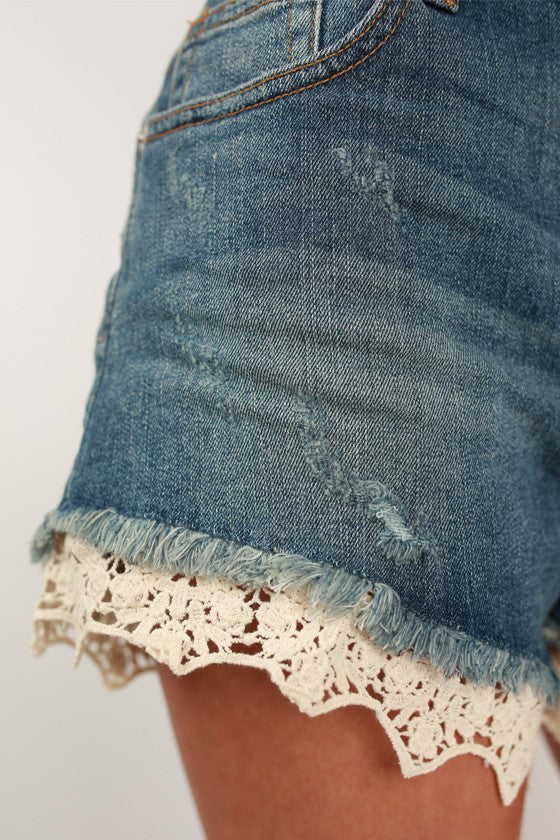 Lace Highrise Shorts in Medium Blue