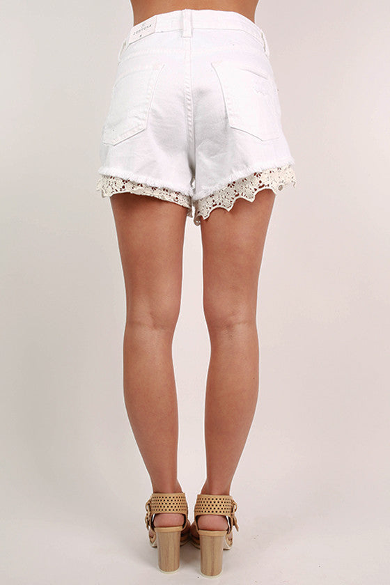 Lace Highrise Shorts in White