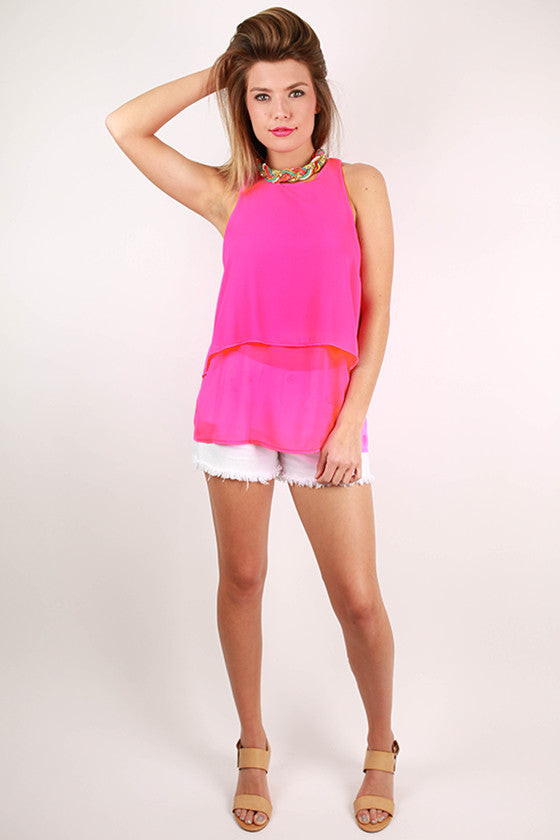 Love At First Sight Layered Tank in Hot Pink