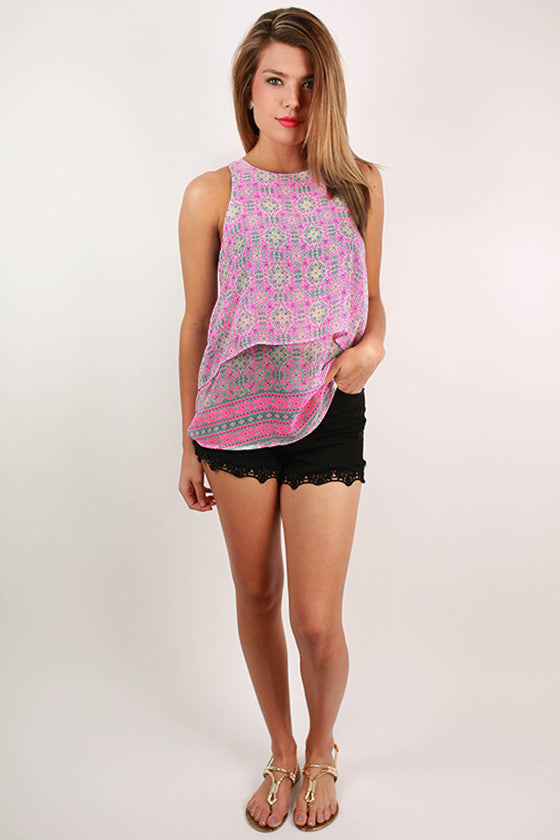 First Kiss Flutter Tank in Neon Pink