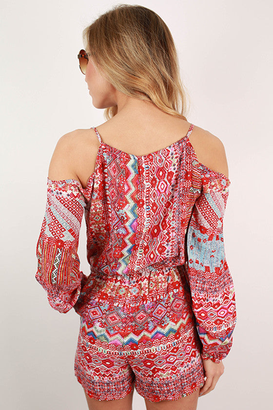 Party in Print Romper in Tomato