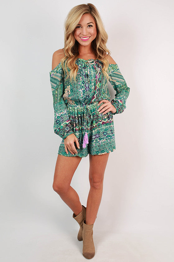 Party in Print Romper in Teal