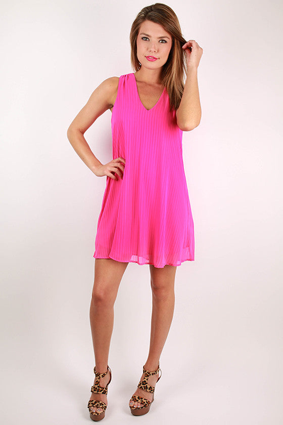 Flirt & Flare Dress in Hot Pink