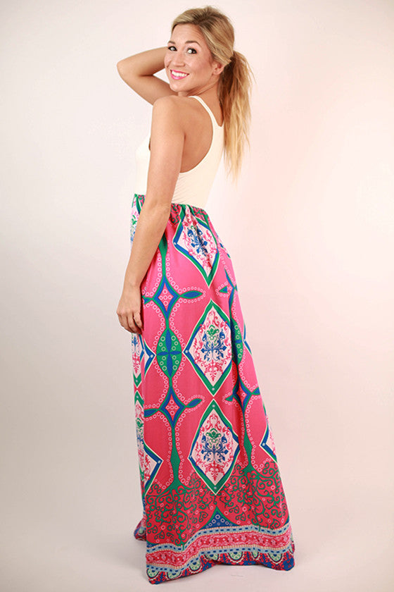 Perfect Punch Line Maxi Dress in Pink