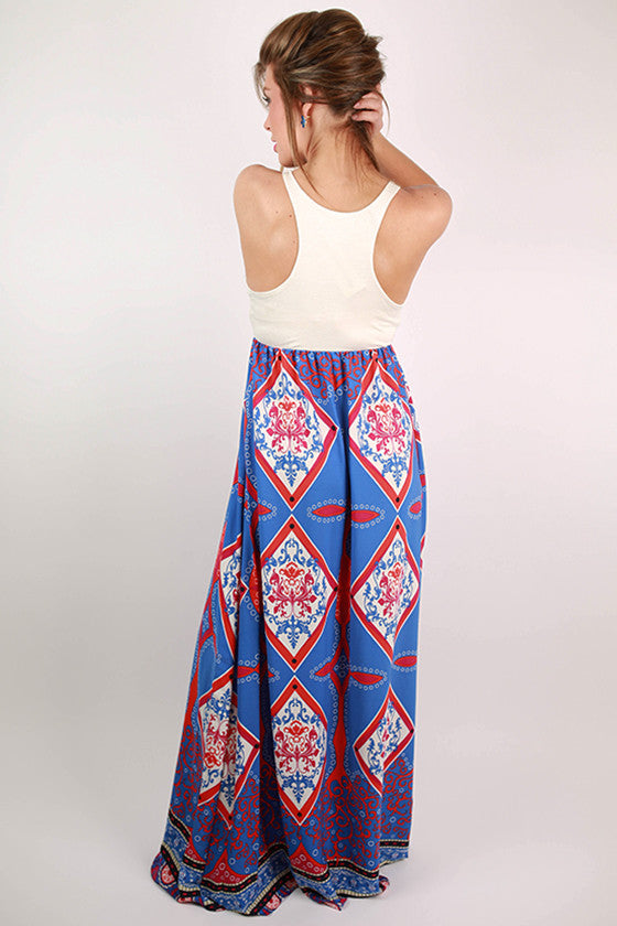 Perfect Punch Line Maxi Dress in Sapphire