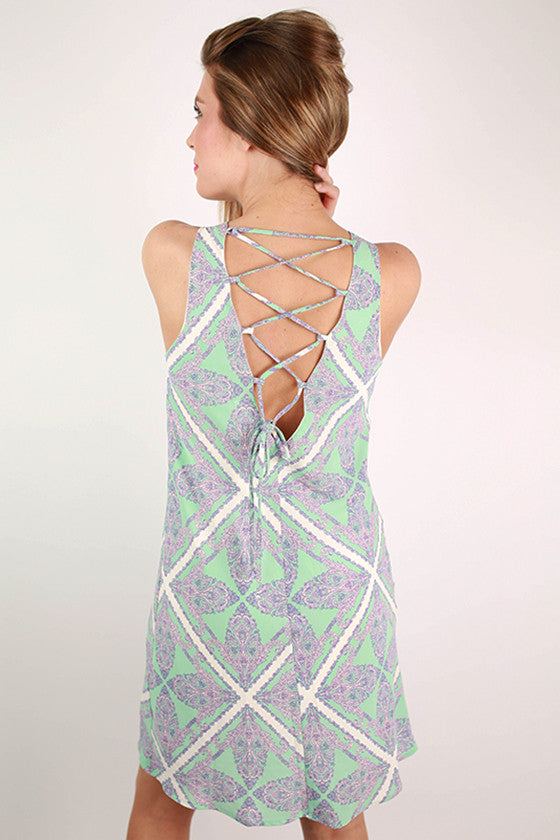 Southwest Sunrise Paisley Dress in Mint