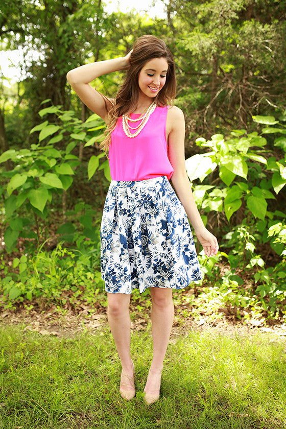 Soho Strutting Floral Skirt in Blue