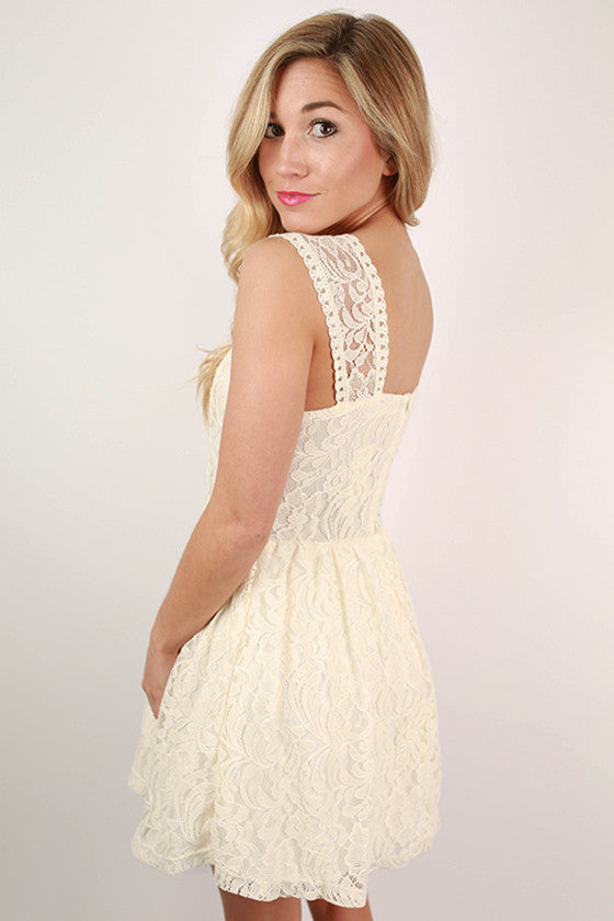 Mimosa Brunch Mini Lace Dress in Ivory