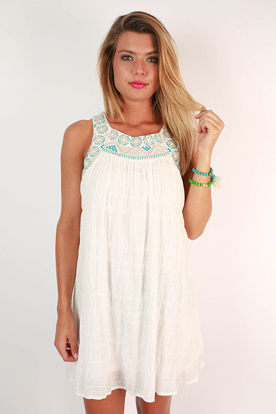 Back Porch Sipping Embroidered Dress in Blue