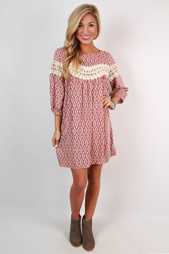 On Cloud Nine Print Dress in Red