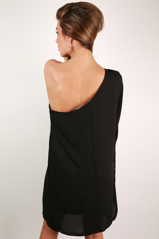 Lucky in Love One Shoulder Dress in Black