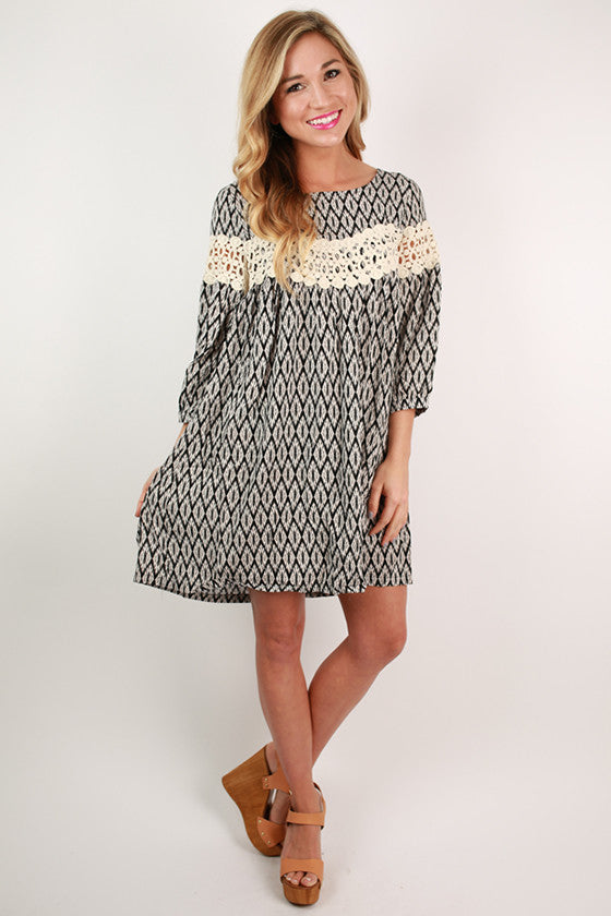 On Cloud Nine Print Dress in Black