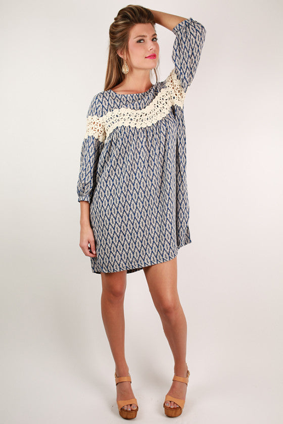 On Cloud Nine Print Dress in Navy