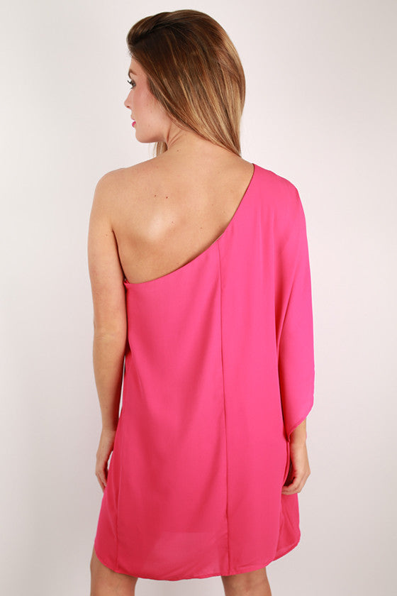 Lucky in Love One Shoulder Dress in Hot Pink