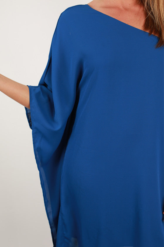 Lucky in Love One Shoulder Dress in Royal Blue