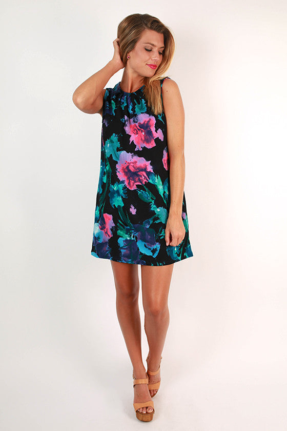 Caribbean Floral Dress in Black