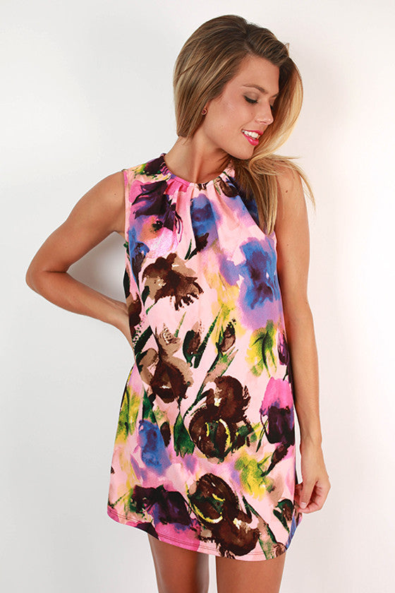Caribbean Floral Dress in Pink
