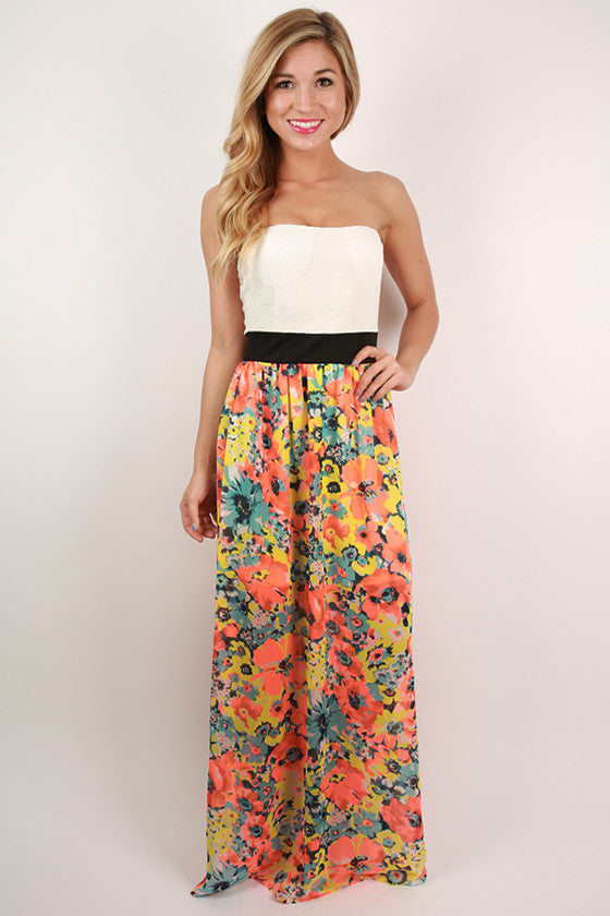 Making Waves Floral Maxi Dress in Neon Coral