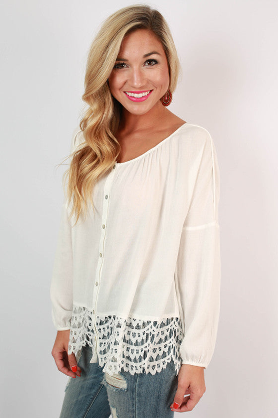 Sea Mist Lace Trim Top in Ivory