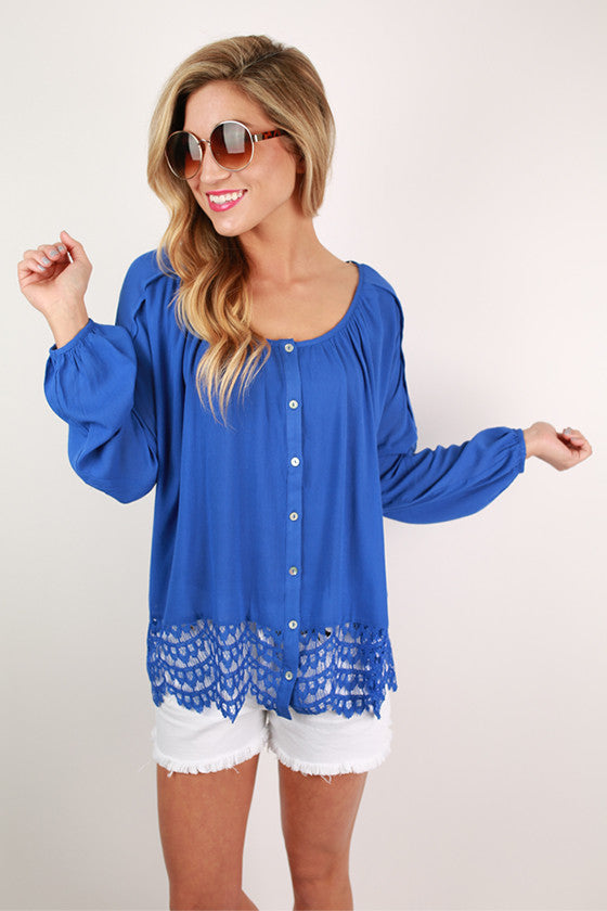 Sea Mist Lace Trim Top in Royal Blue