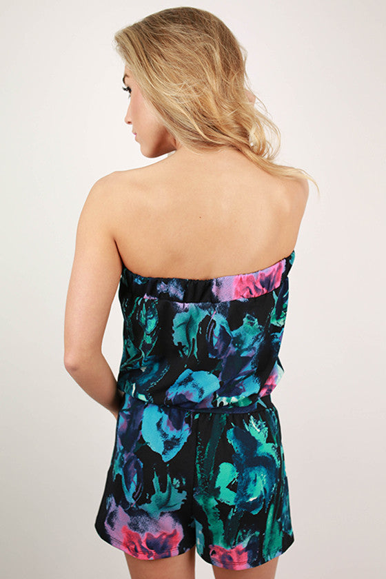 Paris Garden Floral Romper in Black