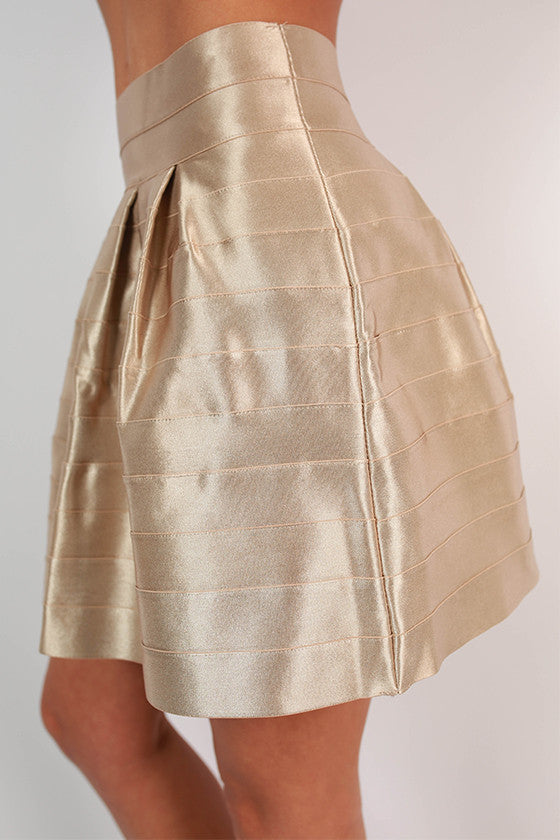 Show & Tell Bandage Flare Skirt in Taupe