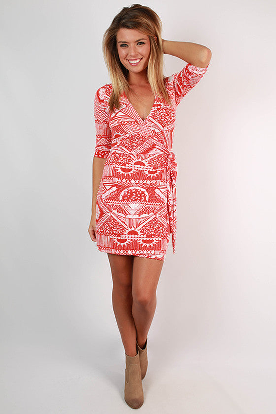 Summertime Happiness Wrap Dress in Tangerine