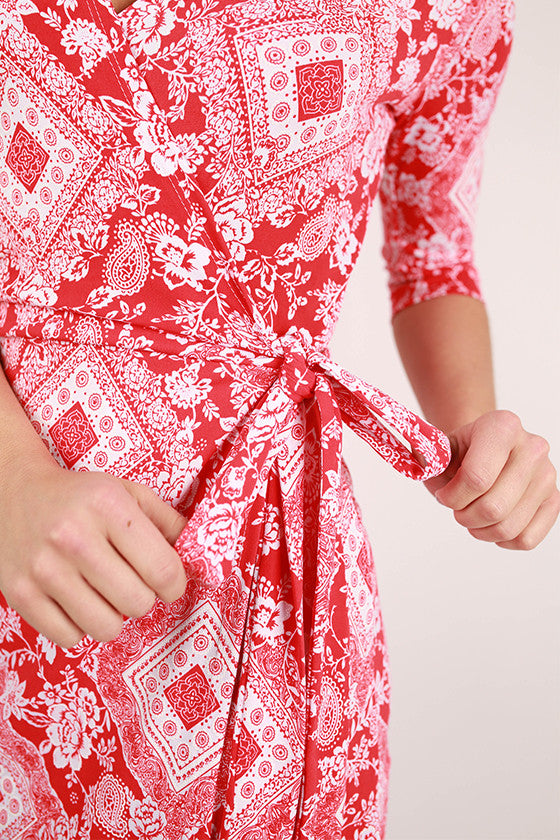 You're The Loveliest Wrap Dress in Tomato