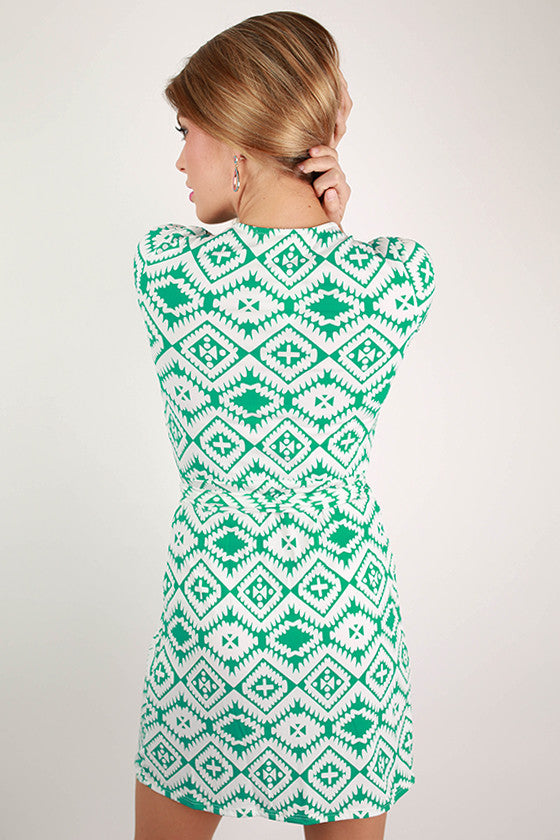 Day At The Winery Wrap Dress in Jade