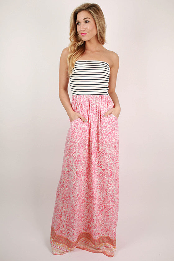 Faithful Stripes Paisley Maxi Dress in Calypso