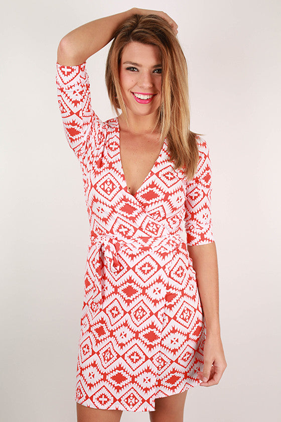Day At The Winery Wrap Dress in Orange