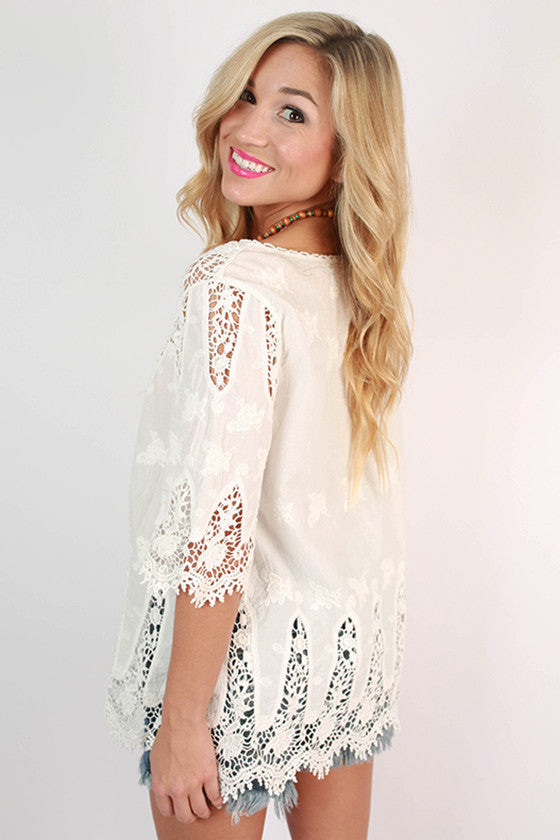 Ocean Dip Crochet Top in White